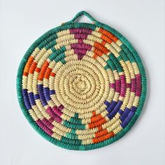Buy handmade sustainable kitchen utensils from Omar Handmade in Slovakia Europe, Woven Trivet - Palm leaves Hot Pad - Wicker Coaster - Nubian Handmade - Colorful - Sustainable - Bohemian - Natural - Made in Nubia Handmade Home, Handmade Design, Handmade Items, Handmade Gifts, Hot Pads, Handicraft, Wicker, Coasters, Leaves