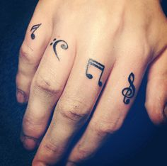 #tattoo #musical #notes #fingers