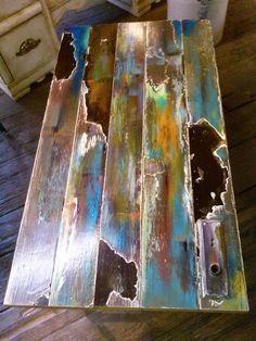 Items similar to reserved for Roseanna's deposit for Faux bronze patina abstract on reclaimed vintage door wood with door plate. on Etsy Door Coffee Tables, Painted Coffee Tables, Whimsical Painted Furniture, Repurposed Furniture, Door Wood, Wood And Metal Table, Table Cafe, Bois Diy, Vintage Doors