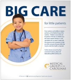 designed this ad for Spartanburg Regional Health System - Medical Group of the Carolinas pediatric practices. The ad was printed in Upstate Parent Magazine and was later integrated into a digital billboard, website display, and various social media ads. Dental, Health Facts, Group Health, Best Ads, Health Lessons, Social Media Design, Ad Design, Print Ads, Pediatrics
