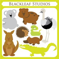 Australian Animals is a fun and adventurous set and a great way to adorn your invitations, cards, stationery, scrapbooks, digitized embroidery or even wall decals. Looney Tunes, Australian Party, Animal Templates, Australia Animals, Studios, Cute Clipart, Forest Friends, Emu, Animals Images