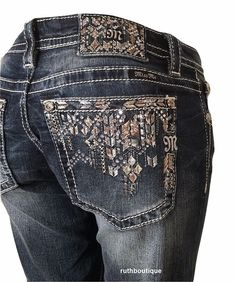 Miss Me Size 31 (11/12) Tribal Pocket JY8493B2 Boot Cut Jeans NWT #MissMe #SignatureBootBootCut