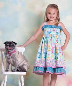 Unik Baby Boutique - Jelly The Pug Aqua Hot Air Balloon Sassy Dress , $35.00 (http://unikbaby.mybigcommerce.com/jelly-the-pug-hot-air-balloon-sassy-dress/)
