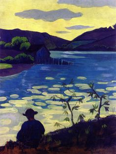 Paul Serusier  -  [French Painter, 1863-1927] Fisherman by theLaïta -  1890 Tempera on board on panel Height: 65.1cm, Width: 50 cm