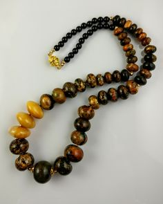 Color treated marble with honey jade. Great necklace for Autumn!