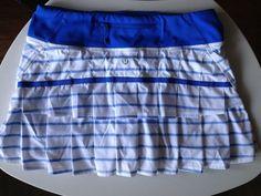 Lululemon Pace Setter Skirt Deauville Stripe Pipe Dream White Blue Size 4 #Lululemon #SkirtsSkortsDresses