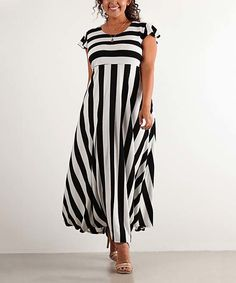 Another great find on #zulily! J-Mode USA Los Angeles Black & White Stripe Flutter-Sleeve Maxi Dress - Plus by J-Mode USA Los Angeles #zulilyfinds