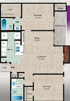 El Lago Floor Plan at The El Dorado View Apartments in Webster, TX