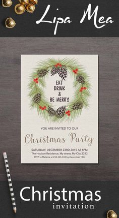 Christmas Invitation Printable, Christmas Party Invitation, Printable Christmas Invitation Rustic, Floral Winter Invitation, Digital File