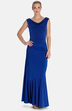 Tahari Embellished Drape Neck Jersey Mermaid Gown available at #Nordstrom