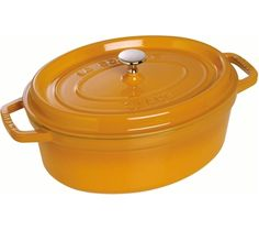 Staub Oval Cocotte, mustard yellow cast iron pot