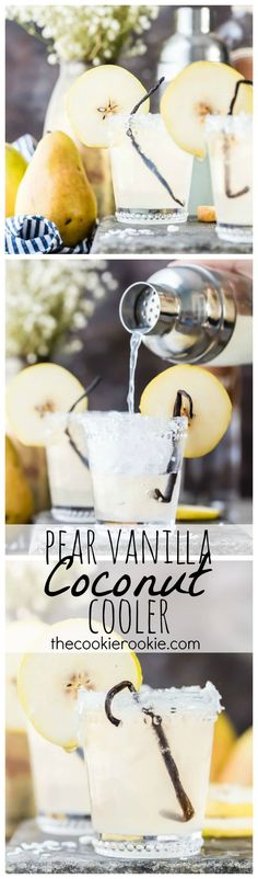 I have to admit that I pin some of these cocktails just for the beautiful and unusual garnishes, lol. This one is a Pear Vanilla Coconut Cooler. Such a beautiful and delicious flavor combo; the perfect cocktail for Fall! Summer Cocktails, Cocktail Drinks, Cocktail Recipes, White Cocktails, Drink Recipes, Non Alcoholic Drinks, Beverages, Coconut Vodka, Coconut Water