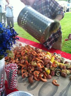 Shrimp Boil 101. Shrimp boil party, Hampton Chic wear  backyard movie idea....byobb (have guests bring their own breadbeers)...serve with choice of ice teas.