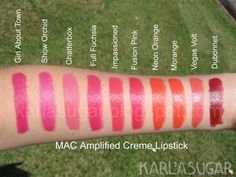 MAC Amplified Creme Lipstick Comparison Swatches in Girl About Town, Show Orchid,  Chatter Box, Full Fuschia, Impassioned, Fusion Pink, Neon Orange, Morange, Vegas Volt and Dubonnent