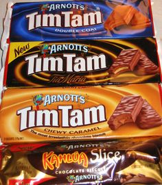 Tim Tam Cookies from Australia. I love these cookies! Aussie Food, Australian Food, Australian Gifts, Tim Tam, Chocolate Brands, Australia Day, Australia Travel, Chocolate Biscuits, New Zealand