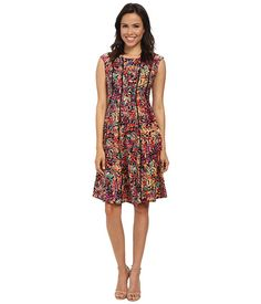 London Times Cap Sleeve Fit & Flare Dress Multi - 6pm.com