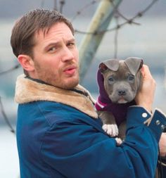 Tom Hardy with a puppy on the set of Animal Rescue in Brooklyn