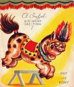 Vintage Birthday Card Circus Pony