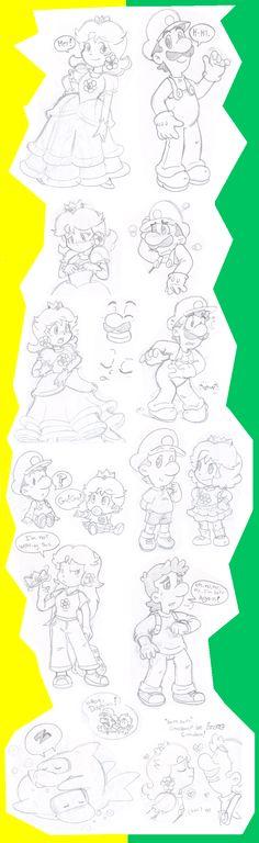 Doodles: Luigi and Daisy by Nintendrawer.deviantart.com on @deviantART