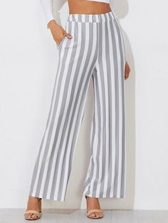 65253fead3b2 Buy Women's Casual Gray and White Striped Wide Leg Loose Pants With Elastic  Waist by PesciModa. Shop women's casual pants, cheap womens dress pants, ...