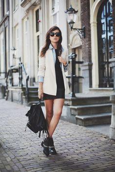 Leather Dress: Mango | Boots: Sandro Paris (Out mid September) | Denim shirt: ACNE | Blazer: ZARA (ooooold) | Sunglasses: Celine