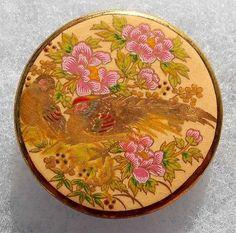 2-GOLDEN-PHEASANT-BIRDS-N-PINK-FLOWERS-SATSUMA-TYPE-TRANSFER-JASPERWARE-BUTTON Golden Pheasant, Vintage Buttons, Bird Art, Pink Flowers, Birds, Type, Kimono, Porcelain, Japanese