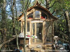 Building a tiny timber framed home in the woods with friends...
