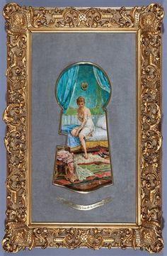 A Look through the Keyhole (Un Regard par le Trou de la Serrure) by Hans Zatzka