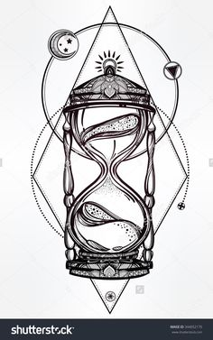 Hand drawn romantic beautiful drawing of a hourglass. Vector illustration isolated. Tattoo design, mystic time symbol for your use.                                                                                                                                                                                 Mais