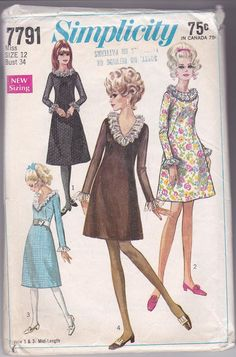 60s Miss Sheath Dress Ruffles Long Sleeves A-line Size 12 Bust 34 Vintage Sewing Pattern Simplicity 7791 Complete