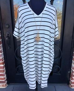 We JUST got this dress in!! Find it at Daphne or The Wharf! #stripesarein