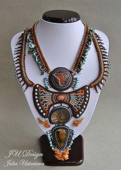 """Купить Колье """"Кения"""" - колье, этника, африка, оранжевый, Этнический стиль, этнические украшения"""