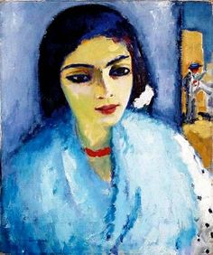 Kees van Dongen, Portrait of a woman with shawl and red choker