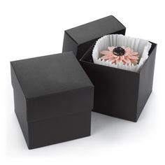 "Two-Piece Cupcake Box - Black (Set of 25). Big enough to hold a cupcake, stylish enough to stand out at a wedding! Two-piece cupcake boxes can be mixed, matched and embellished.  Dimensions: 4"" x 4"" x 4"" Price Includes: Package of 25 blank cupcake boxes Customer assembly required We recommend using wrapped candies or liners when placing food into any favor box or container Item is non-personalized"