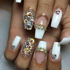 white with iridescent crystals
