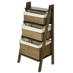 The KOUBOO Wicker Basket Bathroom Ladder Shelf provides three pretty steps to a perfectly organized bathroom - or laundry room, or craft room,. Entryway Furniture, Find Furniture, Furniture Design, Basket Shelves, Storage Baskets, Wall Shelves, Storage Spaces, Contemporary Storage Cabinets, Bathroom Ladder Shelf