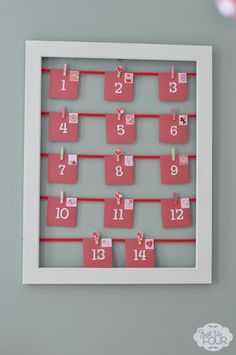 Super cute idea to countdown to Valentine's Day with an Advent style calendar. #crafts #Valentinesday JustUsFourBlog.com