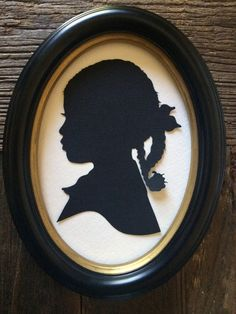 Oval Framed Custom Hand Cut Silhouette : Wall Decor Wall Hanging Gift Oval Frame family heirloom