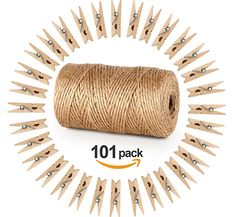 328 Pieds Ficelle de jute et 100 pièces Mini en bois naturel Craft Absofine Pinces à linge Craft Pinces à linge Clips pour jardinage Applications, arts Crafts Cadeau de Noël
