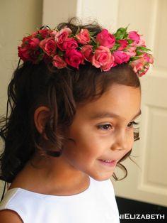 spray rose flower girl halo
