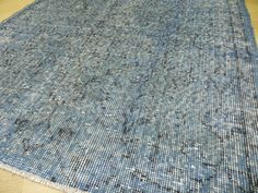 3.1x6 ft 94x185 cm Turquoise Blue OVERDYED VINTAGE by WeMakeRugs, $299.00