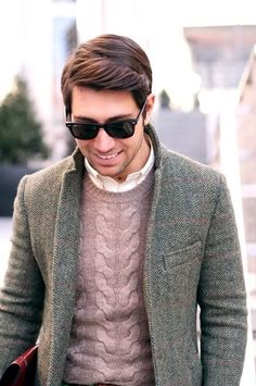 He looks amazing in this tweed jacket and crew neck sweater in a muted mauve tone. Love his upgrade to the biz casual look! -Lily #streetstyle