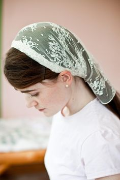 Delicate Lace headcovering prayer veil wedding scarf. $17.00, via Etsy.