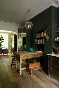 Modern Kitchen Design the Islington Townhouse Kitchen by deVol with dark walls and vintage decor. / sfgirlbybay - another brilliant beauty from devol, meet the Islington Townhouse Kitchen with its Classic English cupboards and ornate crown molding. Farmhouse Style Kitchen, Modern Farmhouse Kitchens, Home Decor Kitchen, New Kitchen, Family Kitchen, Kitchen Ideas, Awesome Kitchen, Decorating Kitchen, Green Kitchen