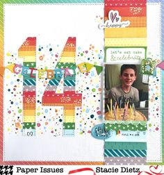 Paper Issues Birthday Page Layout Birthday Scrapbook Layouts, Scrapbook Layout Sketches, Scrapbook Designs, Simple Scrapbooking Layouts, Couple Scrapbook, Kids Scrapbook, Scrapbook Supplies, Paper Bag Scrapbook, Scrapbook Cards