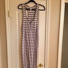 Tank dress ( XXL fits like L or XL) Grey & white strip, no signs of wear, snaps on front in chest area, very comfy & looks cute with white or denim around waist or shoulders Xhilaration Dresses Maxi