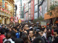 Shoes City. Crowd at Dong Men Pedestrian Street, Shenzhen. Christmas 2013.. crowd-at-dong-men-christmas-2013-021