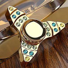 Diamond Tri-Firdget EDC Hand Spinner Premium Fidget Spinner (Golden)