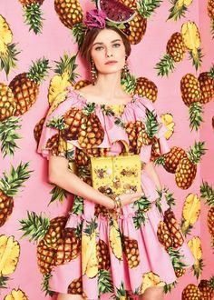 tropical city, Dolce & Gabbana spring summer 17 lookbook, pineapples and ice creams