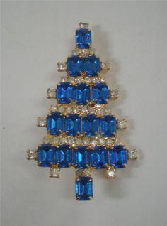 Anthony Attruia Blue Stones Christmas Tree Pin